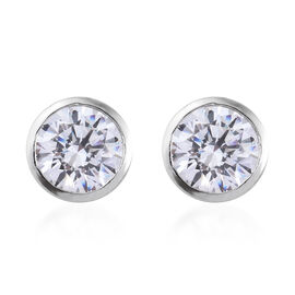 Made with Swarovski Zirconia Solitaire Stud Earrings in Platinum Plated Sterling Silver