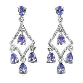 1.50 Ct Tanzanite Chandelier Earrings in Platinum Plated Sterling Silver