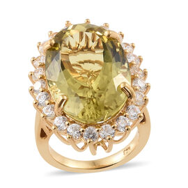 Extremely Rare Size  Lemon Quartz (Ovl 21x14mm, 18.20 Ct), Natural Cambodian Zircon Ring in 14K Gold
