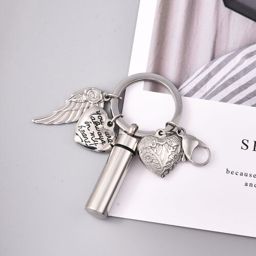 2 Piece Set - Multi Charm Memorial Keychain with Funnel and Needle in Stainless Steel