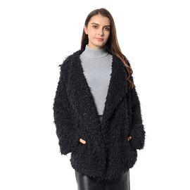 Faux Fur Long Sleeve Short Coat (Size XXL - XXXL) Black Colour