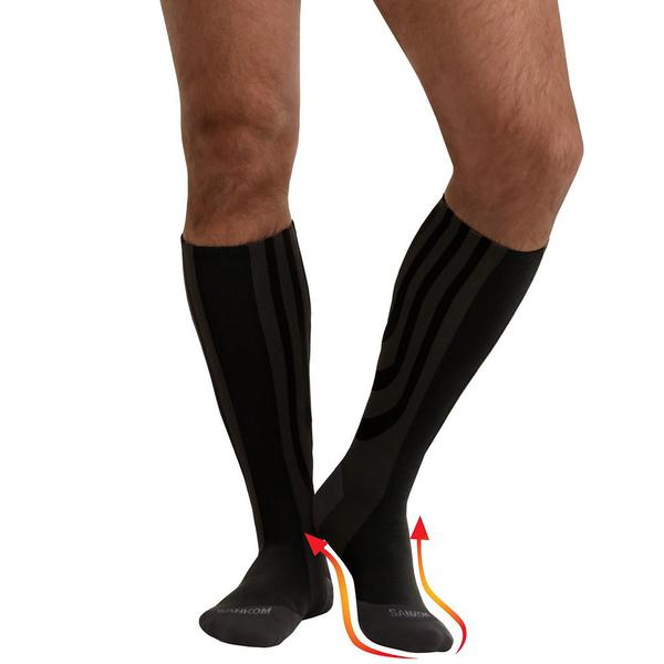 Set of 2 - SANKOM SWITZERLAND Patent Socks - Grey and Black (Size Regular III/ 9-12 UK)