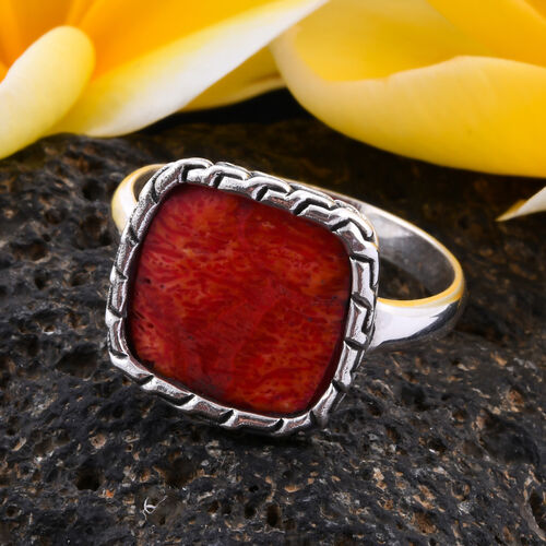 Royal Bali Collection - Sponge Coral Solitaire Ring in Sterling Silver