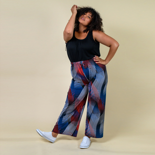 TAMSY Miss Collection Abstract Pattern Trousers (M/L,10-18) - White, Navy, Black and Red