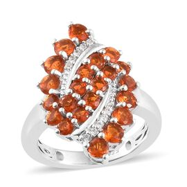 WEBEX- Jalisco Fire Opal (Rnd), Natural Cambodian Zircon Bubbales Ring in Platinum Overlay Sterling Silver 1.500 Ct.