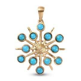 Arizona Sleeping Beauty Turquoise Pendant in 14K Gold Overlay Sterling Silver 1.480 Ct.