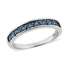 Blue Diamond Half Eternity Band Ring in Platinum and Blue Plated Silver