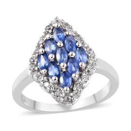 Burmese Blue Sapphire and Natural White Cambodian Zircon Ring in Platinum Overlay Sterling Silver 1.