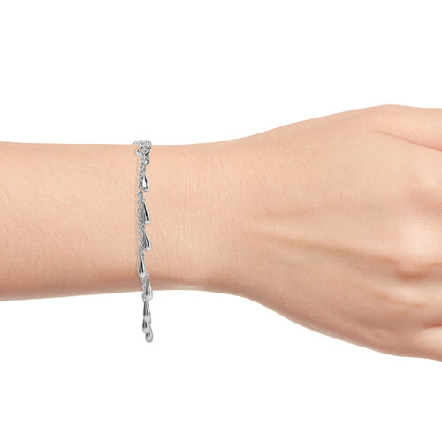 LucyQ Multi Drip Bracelet (Size 7/7.5/8) in Rhodium Overlay Sterling Silver, Silver wt 10.04 Gms