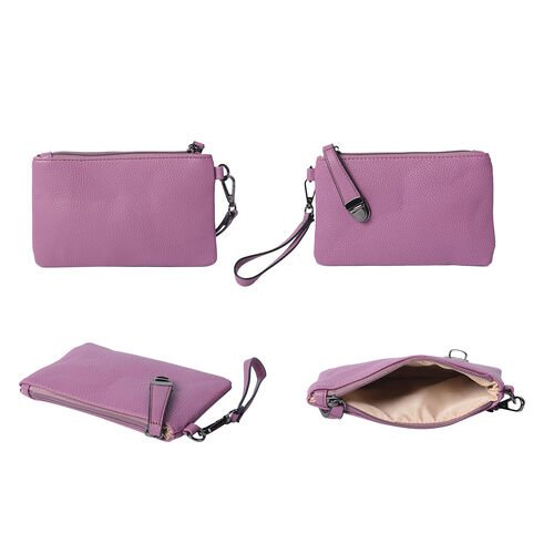 4 Piece Set - Purple Tote Bag, Crossbody Bag, Clutch Bag and Card Bag with Tassel Hanging