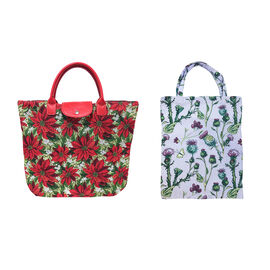 Signare Tapestry - Fold Away Shopping Bag in Xmas Poinsettias design (36 x 36 cms) with Free Eco bag