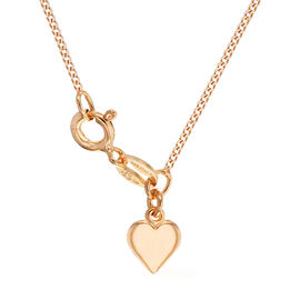 Rose Gold Overlay Sterling Silver Heart Curb Adjustable Chain (Size 18)
