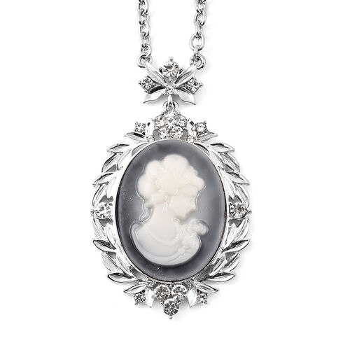 3 Piece Set - White Austrian Crystal Adjustable Ring, Vintage Style Cameo Necklace (Size 20 with 2 inch Ext.) and Earrings (with push Back) in Silver Tone