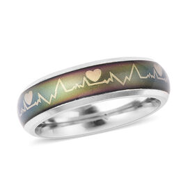 DOD - New Concept Mood Band Ring Heartbeats Design in Silver Tone