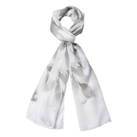 White Colour Leaf Pattern Scarf (Size 180x70 Cm)