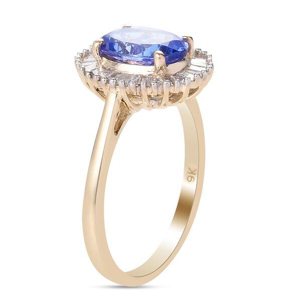 9K Yellow Gold Tanzanite and Diamond Halo Ring 1.75 Ct.
