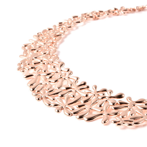 LucyQ Splash Necklace iin Rose Gold Overlay Sterling Silver, Silver wt 77.00 Gms (Size 20)
