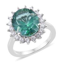 6.25 Ct Green Mystic Coated Topaz and Cambodian Zircon Halo Ring in Sterling Silver 4.08 Grams