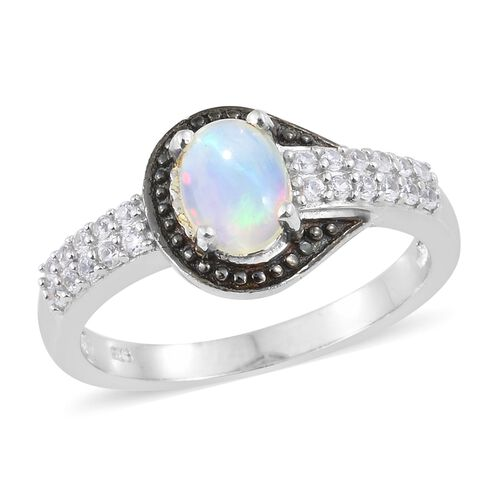 Ethiopian Welo Opal (Ovl), Natural Cambodian Zircon Buckle Ring in Black and Platinum Overlay Sterling Silver 1.250 Ct.