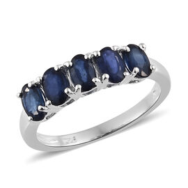 Kanchanaburi Blue Sapphire (Ovl) Five Stone Ring in Sterling Silver 1.500 Ct.