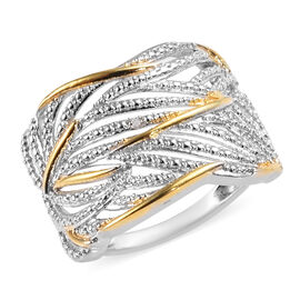 Diamond Criss Cross Ring in Platinum and Gold Plated Silver
