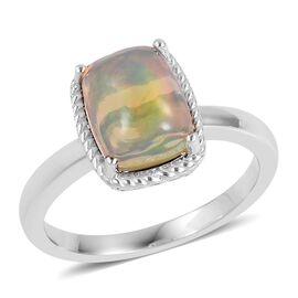 9K White Gold AA Ethiopian Welo Opal (Cush) Solitaire Ring 1.250 Ct.
