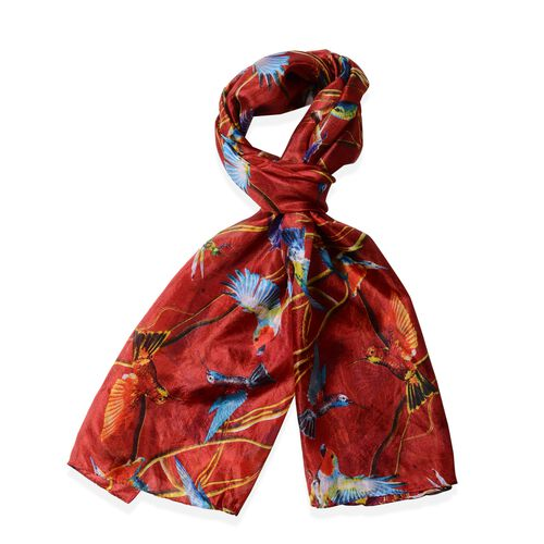 100%  Mulberry Silk Red and Multi Colour Bird Pattern Scarf (Size 175x53 Cm)