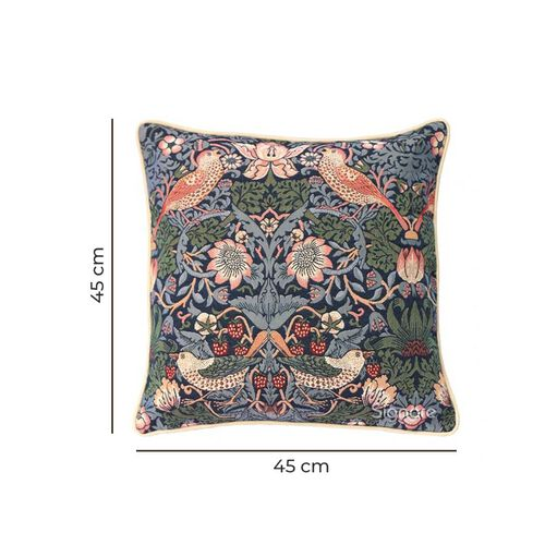 Signare William Morris - Strawberry Thief Blue Pattern Cushion Cover  (45x45 cm)