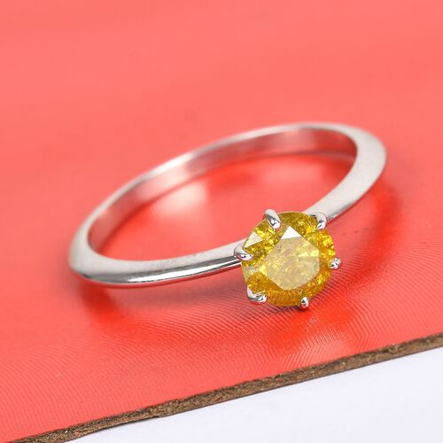 0.61 Ct Yellow Diamond Solitaire Ring in 9K White Gold 1.75 Grams SGL Certified