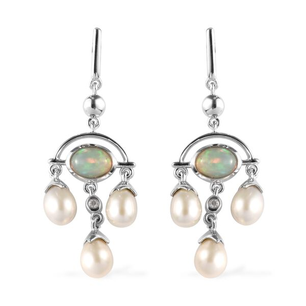 Ethiopian Welo Opal (1.10 Ct), Freshwater Pearl and Natural Cambodian Zircon Earrings (with Push Back) in Platinum Overlay Sterling Silver