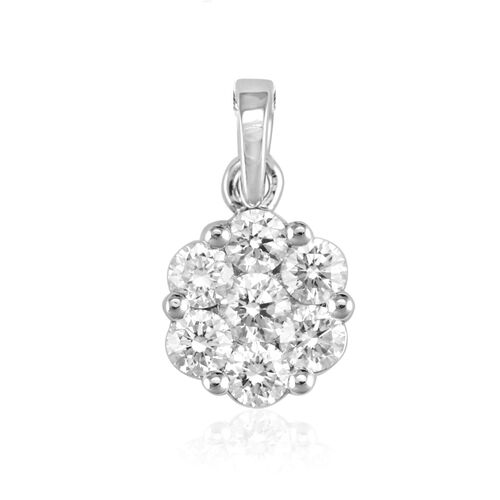 ILIANA 18K W Gold IGI Certified Diamond (Rnd) (SI/G-H) 7 Stone Floral Pendant 0.500 Ct.