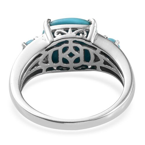 Arizona Sleeping Beauty Turquoise (Cush 3.75 Ct) Ring in Platinum Overlay Sterling Silver 4.000 Ct.