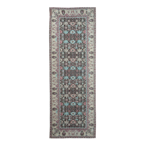 Premium Jacquard Woven Cotton Chenille Area Rug in Beige, Blue and Multi Colour (Size 80x240 cm)