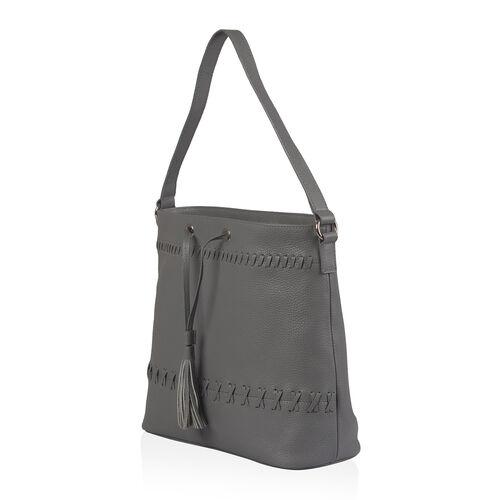 Super Soft 100% Genuine Leather Grey Colour Surreal Grey Draw String Bag (Size 31x29x12 Cm)