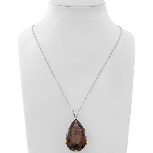 Collectors Edition- Very Rare Size Brazilian Smoky Quartz (Pear 50x30mm) Pendant with Chain (Size 30) in Rhodium Overlay Sterling Silver 152.00 Ct, Silver wt 21.00 Gms