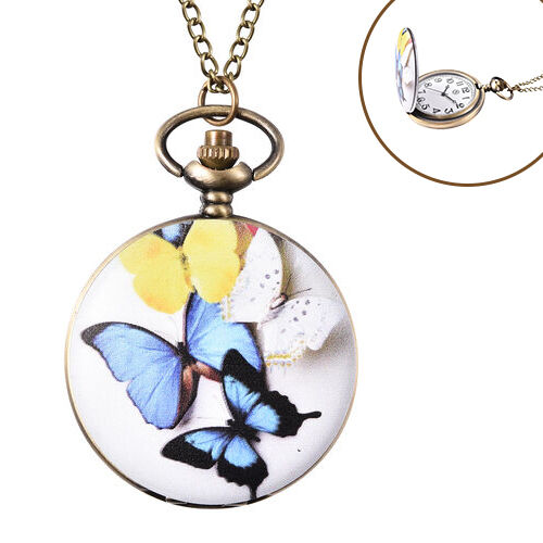 STRADA Japanese Movement Multi Colour Butterfly Pattern Pocket Watch with Chain (Size 31) in Antique