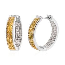 Yellow and White Diamond (Rnd) Inside-out Huggie Hoop Earrings (with Clasp) in Platinum Overlay Ster