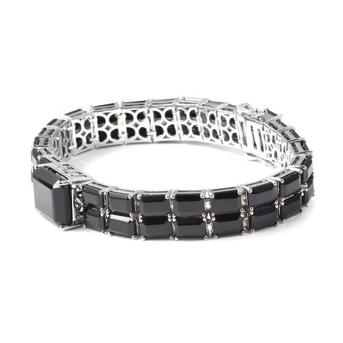 Natural Boi Ploi Black Spinel (Oct) Bracelet (Size 7) in Rhodium Overlay Sterling Silver 68.75 Ct, Silver wt 24.00 Gms