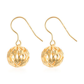 Yellow Gold Overlay Sterling Silver Bead Ball Hook Earrings
