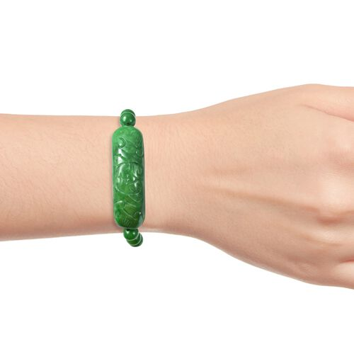 Extremely Rare Hand Carved AAA Green Jade Stretchable Bracelet (Size 7.5) 147.00 Ct.