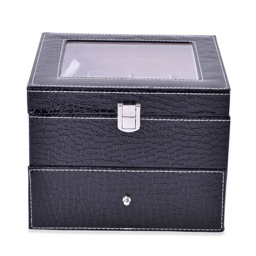 Black Colour Croc Embossed 2 Layer Watch Box with Glass (Size 20x20x16.5 Cm)
