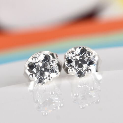 J Francis Sterling Silver Flower Stud Earrings (with Push Back) Made with SWAROVSKI ZIRCONIA 1.00 Ct.