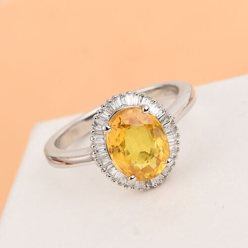 RHAPSODY 950 Platinum AAAA Loupe Clean Chanthaburi Yellow Sapphire (Ovl 9x7mm) and Diamond (VS/E-F) Halo Ring 2.65 Ct, Platinum wt. 5.00 Gms.