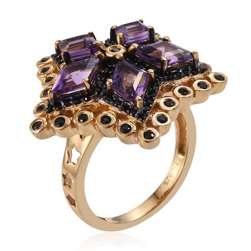 GP Amethyst (Kite), Kanchanaburi Blue Sapphire and Boi Ploi Black Spinel Ring in 14K Gold Overlay Sterling Silver 4.000 Ct.
