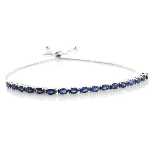 9K White Gold AA Kanchanaburi Blue Sapphire (Ovl) Adjustable Bracelet (Size 6.5 to 9.5) 5.000 Ct.