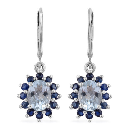 Espirito Santo Aquamarine (Ovl), Kanchanaburi Blue Sapphire Lever Back Earrings in Platinum Overlay