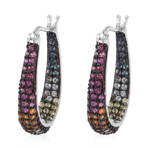 Rhodolite Garnet (Rnd), Swiss Blue Topaz, London Blue Topaz and Multi Gemstone Hoop Earrings (with Clasp Lock) in Sterling Silver 2.700 Ct. Silver wt 8.97 Gms
