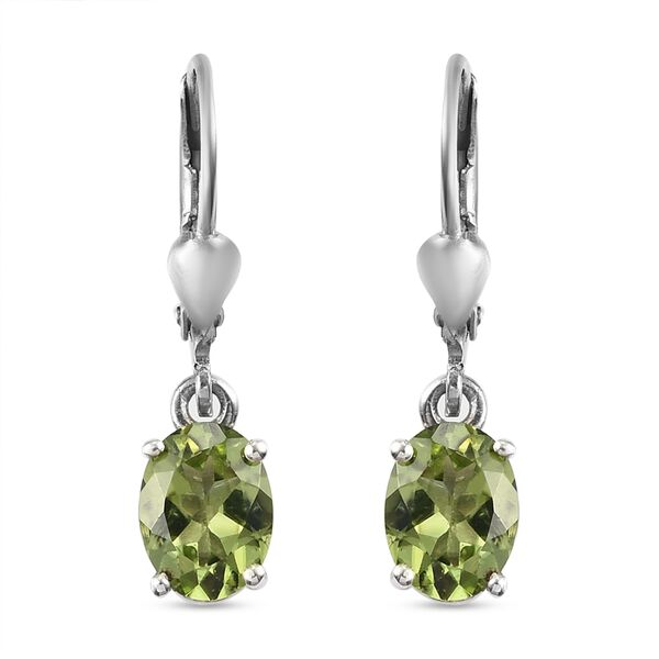 2.25 Ct Hebei Peridot Solitaire Drop Earrings in Platinum Plated Sterling Silver