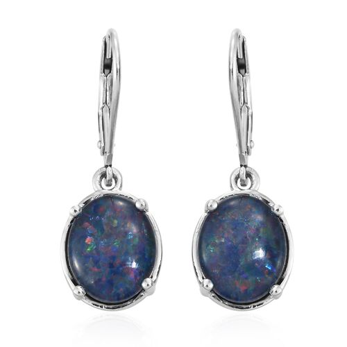 Australian Boulder Opal (Ovl) Lever Back Earrings in Platinum Overlay Sterling Silver 4.000 Ct.