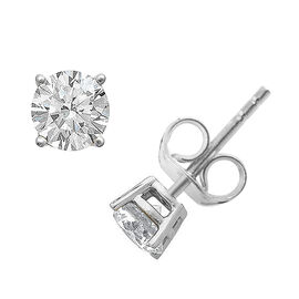 Signature Collection-18K White Gold IGI Certified (SI/H) Diamond (Rnd) Stud Earrings (with Push Back